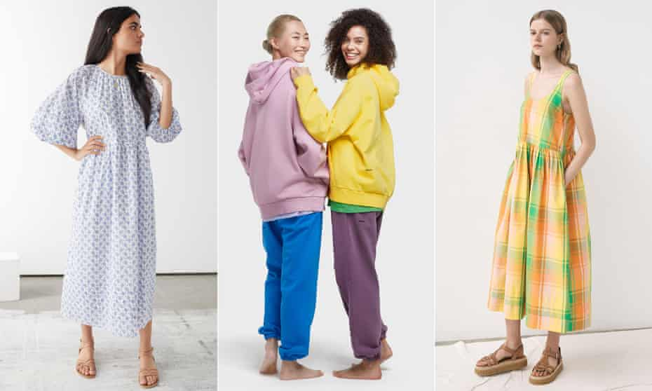 Relaxed lockdown aesthetic: &Other Stories' oversized puff shoulder maxi dress, hoodies and joggers by Pangaia and &Daughter's marie pleat back sundress.