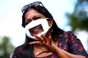 London, UK: A mask designed to help people who lip read, at the Empowering Deaf Society in Ilford