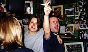 Damien Hirst and Sarah Lucas behind the bar at the club.
