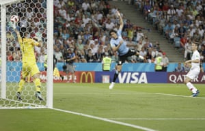 "Sid Lowe's highlight ""Watching the brutal beauty of Edinson Cavani's goal against Portugal, a 100-metre one-two between him and Luis Suárez, the ball smashed from one side of the pitch to the other and back, before flying in off Cavani's face""."