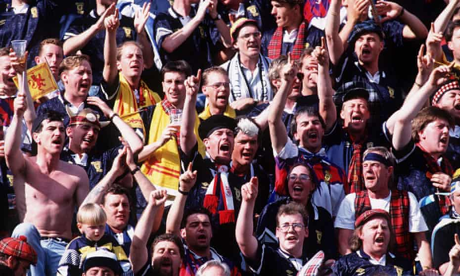 Scotland fans watch their team play Germany at Euro 92 in Sweden.