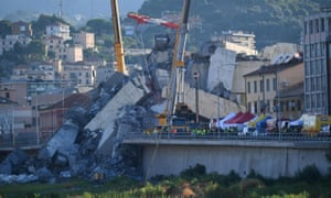 The collapsed Morandi bridge on 15 August 2018, the day after the disaster