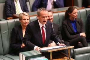 Opposition leader Bill Shorten delivers his Budget in reply speech in the House of Representatives, Parliament House Canberra this evening. Thursday 5th May 2016.