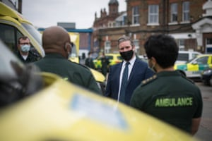 The Labour party leader, Sir Keir Starmer, joins paramedics at Deptford ambulance station, in south-east London