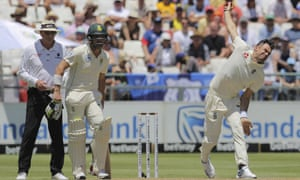 England's Jimmy Anderson grimaces as he bowls during the second Test against South Africa.