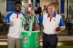 Micah Richards and Harry Redknapp at Potton Bowls Club for the draw.