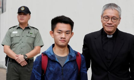 Chan Tong-kai, a Hong Kong citizen who was accused of murdering his girlfriend in Taiwan last year, leaves from Pik Uk Prison