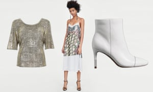 Going out-out in (from left): gold metallic foil wrap-back T-shirt, £26, River Island; dress with sequinned straps, £99.99, zara.com; leather stiletto heel toe cap boots, £79, M&S
