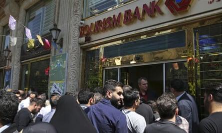 Queue outside bank