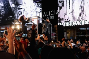 Keys performing Empire State of Mind with Jay Z as part of her album launch in Times Square last month.
