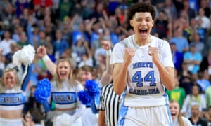 Justin Jackson of the Tar Heels celebrates his team's victory.