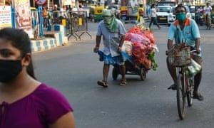 People wearing masks in Kolkata.