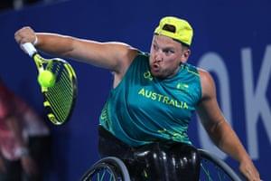 Dylan Alcott of Australia in action against Niels Vink of the Netherlands.