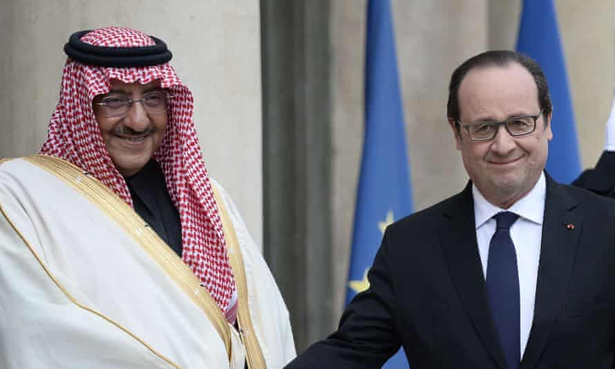 Francois Hollande with Mohammed bin Nayef in Paris on Friday 4 March. The Saudi prince was given the Legion d'Honneur.