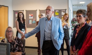 Jeremy Corbyn this Tuesday in Stevenage, Hertfordshire, with local business people