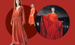 Drawstring orange dress,£99, Arket; wrap dress, £68, Warehouse; Tilda Swinton as Madame Blanc in Suspiria.