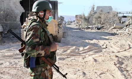 A Syrian soldier in the Jobar area of Damascus, Syria.