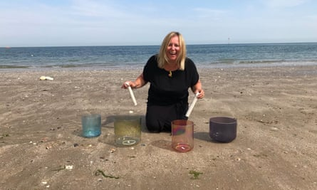 Jo Miller with her alchemy crystal singing bowls in Margate