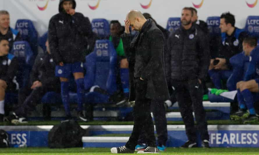 Pep Guardiola cut a dejected figure during the heavy loss at Leicester that exposed Manchester City's problems when faced with direct runners.