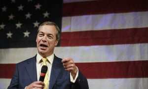 Nigel Farage speaks at a rally for US Senate hopeful Roy Moore in Alabama.
