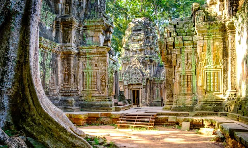 The 12th-century Ta Prohm temple in Cambodia.