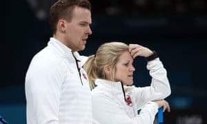 Norway's Kristin Skaslien and Magnus Nedregotten during their match against the OAR team