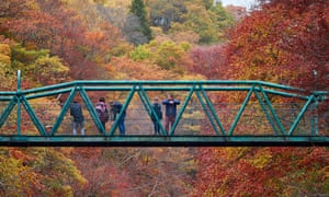 The Green Footbridge over the River Garry at the Pass of Killiecrankie in autumn.