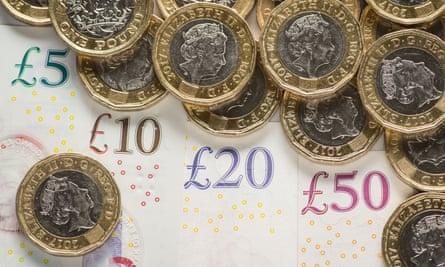 British bank notes and coins.