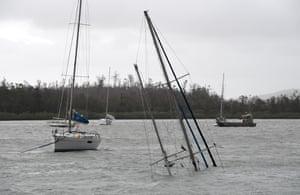 A sunken boat at Shute Harbour.