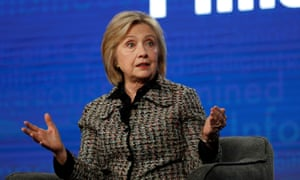 Hillary Clinton speaks during a panel for the Hulu documentary Hillary in Pasadena, California, on 17 January.