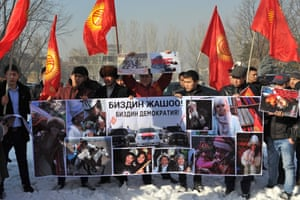 An anti-LGBT rally in Bishkek. Protesters were angry at the Parliamentary Assembly of the Council of Europe calling on Kyrgyzstan to withdraw a draft law on the prohibition of 'propaganda of nontraditional sexual relations'.
