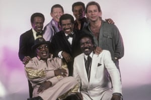 Showtime Oldies; Bo Diddley, Norman, Jerry Lee Lewis, Gary US Bonds, Lou Christie and Wilson Pickett, Ben E.King at centre at the Ritz in New York City in 1988