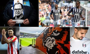 Clockwise from top left: Leeds fans hope Marcelo Bielsa can deliver promotion; West Brom's Grady Diangana; Fulham's Aleksandar Mitrovic; Hull's KCom Stadium; and Ollie Watkins of Brentford.