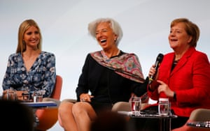 "W20 Summit under the motto ""Inspiring women: scaling up women's entrepreneurship"" in BerlinDaughter of U.S. President Ivanka Trump, Christine Lagarde, Managing Director, International Monetary Fund and German Chancellor Angela Merkel attend the W20 Summit under the motto ""Inspiring women: scaling up women's entrepreneurship"" in Berlin, Germany, April 25, 2017. REUTERS/Hannibal Hanschke"
