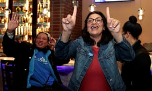 Rashida Tlaib at her election night party in Detroit.
