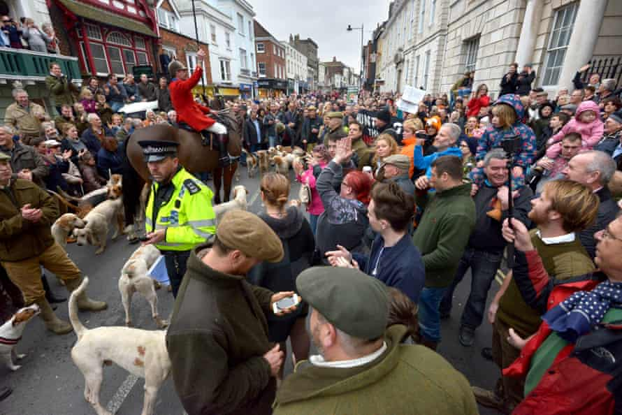 Demonstrators and hunt supporters clash at the Boxing Day hunt in Lewes, East Sussex.