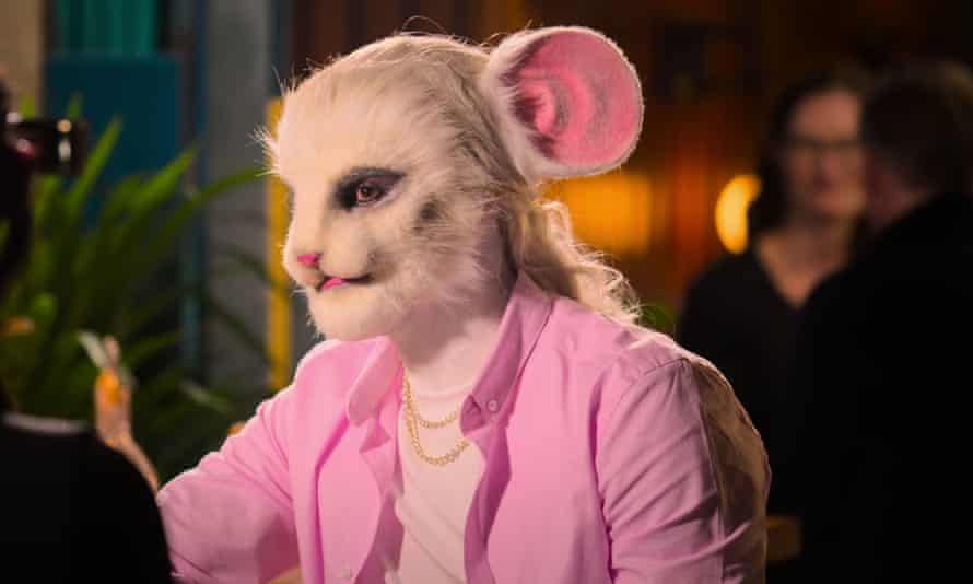 A contestant on Sexy Beasts is made up to resemble a mouse.