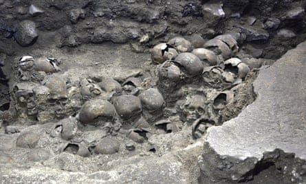 A photo shows parts of an Aztec tower of human skulls, believed to form part of the Huey Tzompantli, at the Templo Mayor archaeology site, in Mexico City.