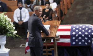Former president Barack Obama delivers a eulogy during the funeral for the late John Lewis