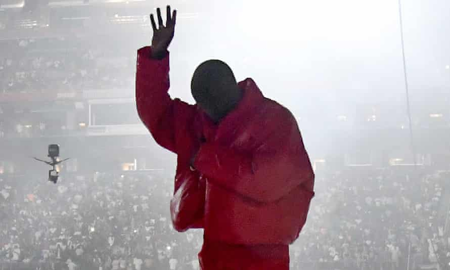 Kanye West, AKA Ye, appearing at a listening party in Atlanta for his forthcoming album Donda, on 22 July.