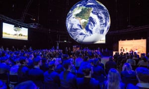 UN Climate Conference in Bonn. The installation provides the inside, on a globe with 360 degree screen, a unique impression of the clima trends on Earth.