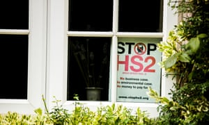 An anti-HS2 sign in a home in Buckinghamshire.