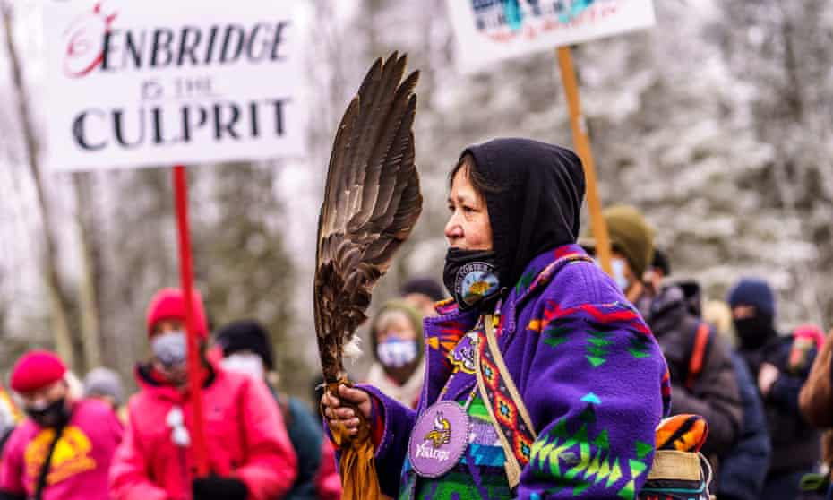 A protest against the Line 3 pipeline near Palisade, Minnesota in January.