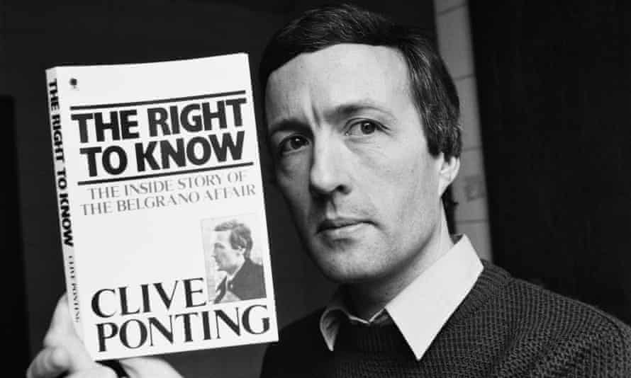 Clive Ponting in 1985, holding his book The Right to Know: The Inside Story of the Belgrano Affair.