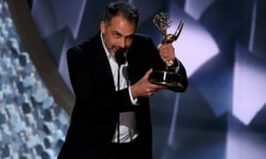 Miguel Sapochnik accepts the Emmy award for Outstanding Directing For A Drama Series.