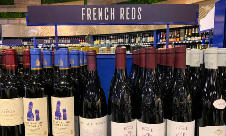 French wines on sale at a supermarket in Los Angeles