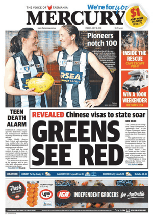 front-page the mercury 13 July 2018