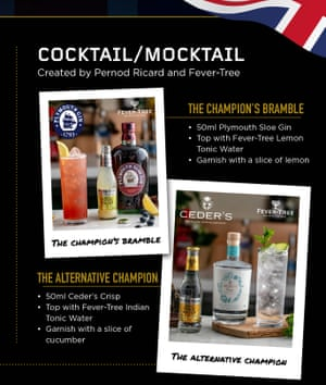 """Cocktail recipes. A page from the """"QIPCO Champions Day at Home"""" brochure which was produced as crowds are are not allowed to attend Ascot for the 2020 Champions Day due to coronavirus and will have to watch the day's racing at home on TV."""