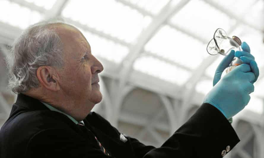 "'Connects the world to Scotland"" … Alexander McCall Smith holds a chloroform inhaler of the type used by Scottish medical pioneer James Young Simpson."