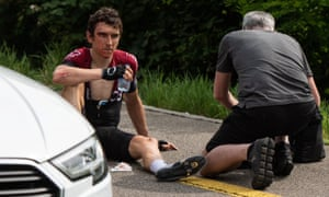 Geraint Thomas suffered only abrasions to his shoulder and a cut above his right eye following the crash.